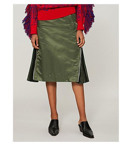 SACAI Side-zip pleat-detail skirt (Khaki