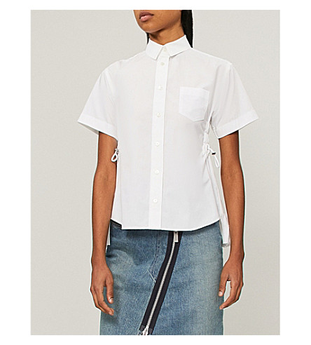SACAI Shirt with cut-out pleated back (White