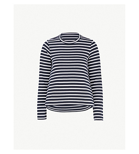 SACAI Striped cotton top with cut-out back (Navy/white