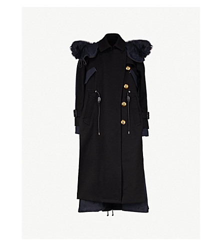 SACAI Hooded wool and cotton coat (Black/navy