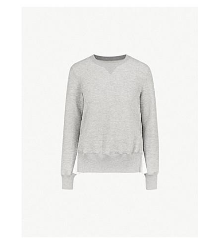 SACAI Pinstriped cotton-blend sweatshirt (Grey