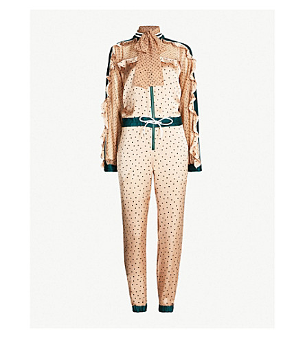 SACAI Polka dot-patterned pleated satin jumpsuit (Beige