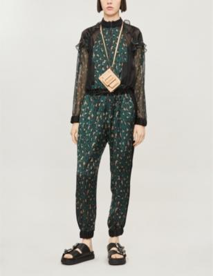 Leopard-print chiffon jumpsuit
