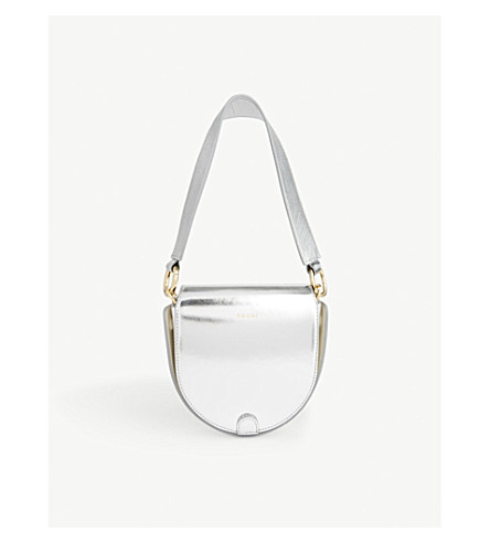 SACAI Horse shoe metallic leather cross-body bag (Silver