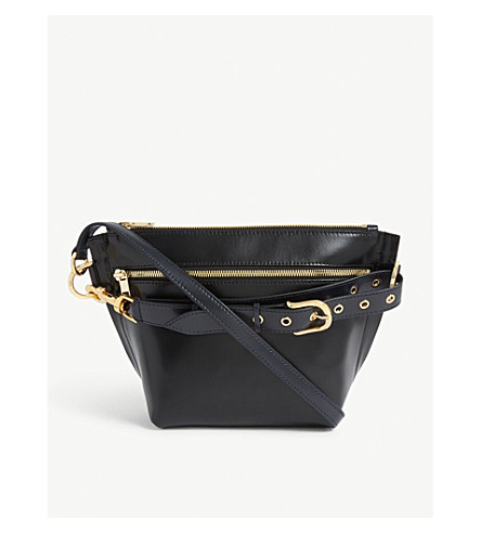 SACAI Leather trapezoid pouch (Black