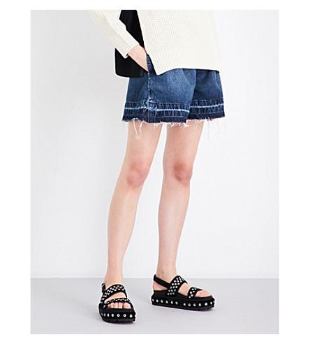 SACAI Sacai x Levi's released-hem denim shorts (Washed+denim