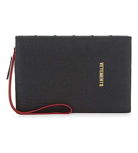 VETEMENTS Ulrich grained goatskin clutch (Black