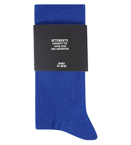 VETEMENTS Tourist information cotton-blend socks (Blue
