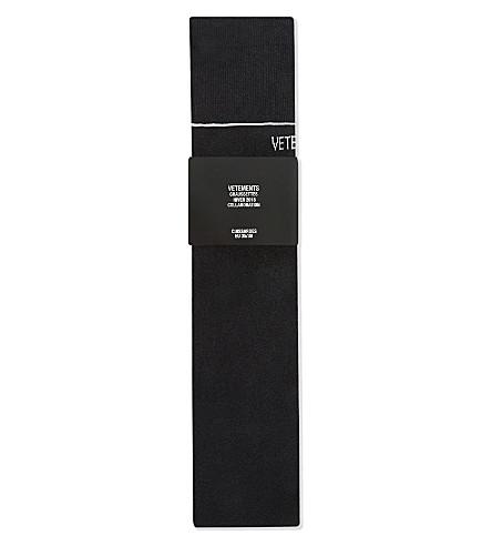 VETEMENTS Cuissardes cotton-lurex thigh-high socks (Black