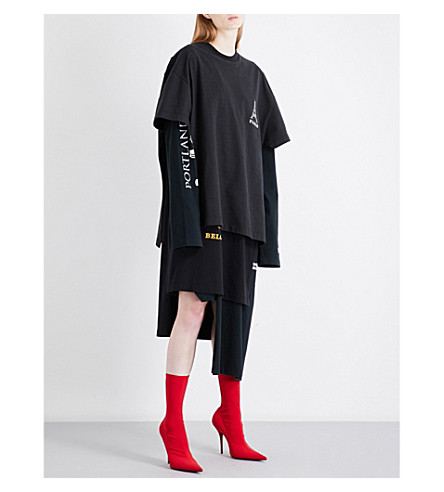 VETEMENTS Logo-print layered cotton-jersey dress (Black