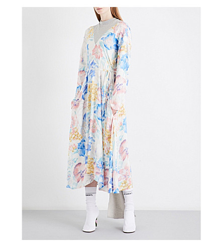 VETEMENTS Floral-print draped-panel crepe dress (Flower