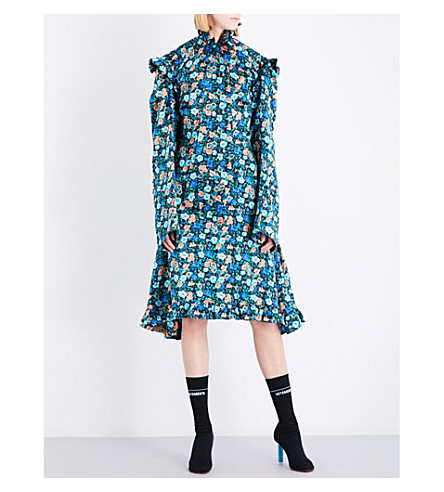 VETEMENTS Biker floral-print silk-satin dress (Flower