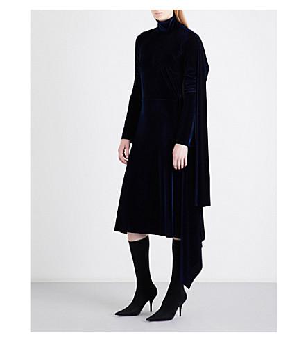 VETEMENTS Draped-panel turtleneck velvet dress (Blue