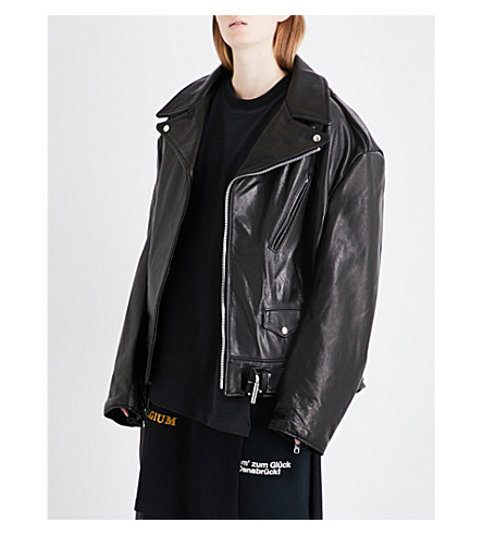VETEMENTS Emo oversized leather biker jacket (Black