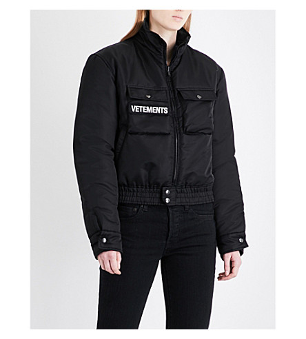 VETEMENTS Police Woman reversible shell and wool-blend jacket (Black