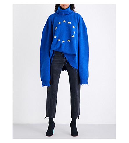 VETEMENTS Vagabond turtleneck oversized wool-blend jumper (Blue