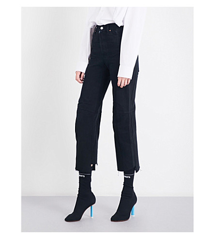 VETEMENTS Rework Biker straight cropped high-rise jeans (Black