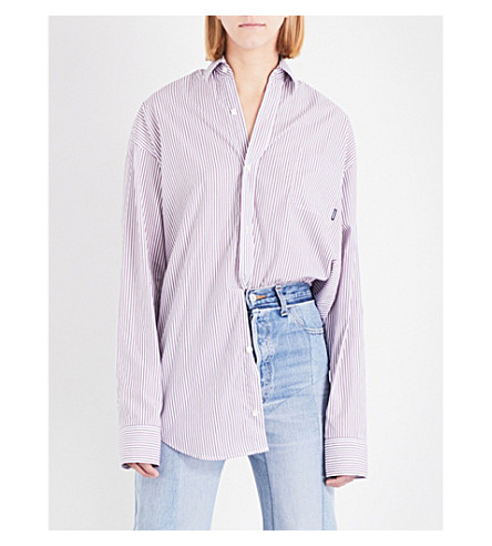 VETEMENTS Oversized striped cotton-poplin shirt (Red