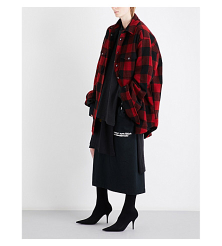VETEMENTS Flannel wool-blend shirt (Red
