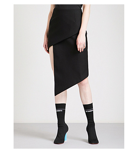 VETEMENTS Spiral asymmetric wool skirt (Black