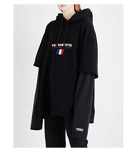 VETEMENTS Double-sleeve cotton-blend hoody (Black