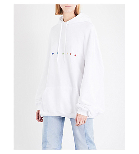VETEMENTS Sweater logo-embroidered jersey hoody (White