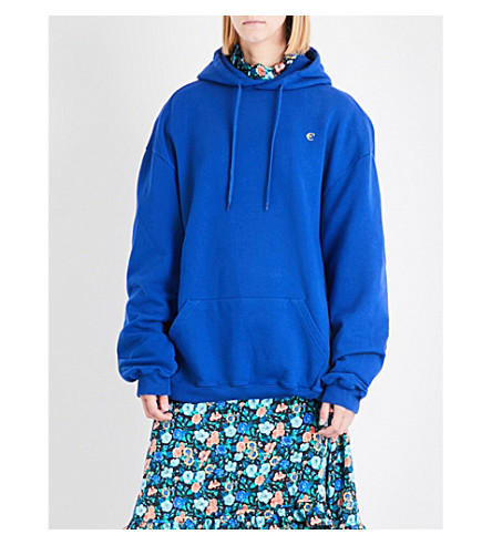 VETEMENTS Euro logo-print jersey hoody (Blue