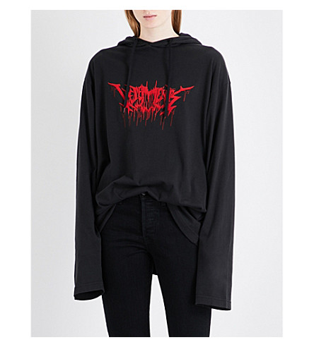 VETEMENTS Tour-print cotton-jersey hoody (Black