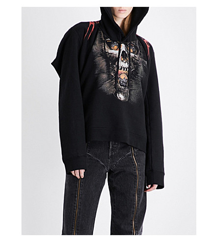 VETEMENTS Goth skull and flame-print jersey hoody (Black
