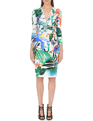 ROBERTO CAVALLI Tropical-print stretch-jersey dress