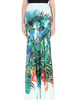 ROBERTO CAVALLI Tropical-print jersey maxi skirt