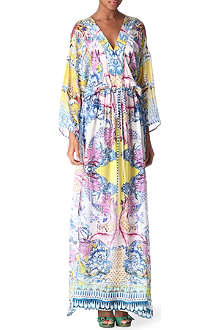 ROBERTO CAVALLI Printed silk kaftan maxi dress