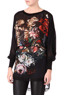 ROBERTO CAVALLI Long-sleeved silk kaftan