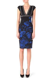 ROBERTO CAVALLI Floral-print and chain detail dress