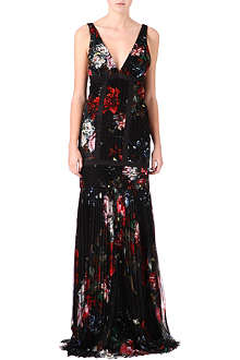 ROBERTO CAVALLI Pleated silk-chiffon gown