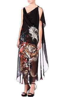 ROBERTO CAVALLI Cape-shoulder kaftan gown