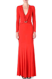 ROBERTO CAVALLI Draped-front v-neck gown