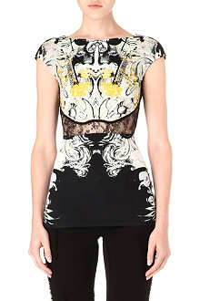 ROBERTO CAVALLI Printed lace-panel top