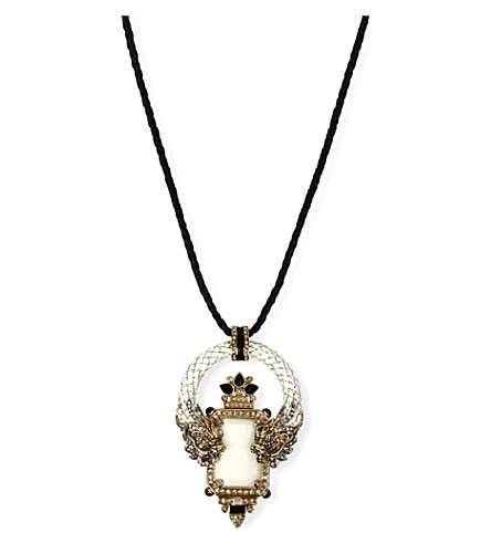 ROBERTO CAVALLI Dragon pendant necklace (White