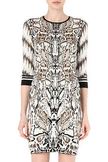 ROBERTO CAVALLI Knitted animal-print dress