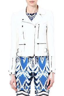 ROBERTO CAVALLI Croc-embossed leather biker jacket