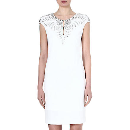 ROBERTO CAVALLI Embellished crepe dress (White