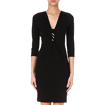 ROBERTO CAVALLI Brooch-embellished jersey dress (Black