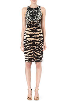 ROBERTO CAVALLI Sleevesless animal-panelled dress