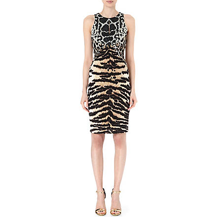 ROBERTO CAVALLI Sleevesless animal-panelled dress (Brown