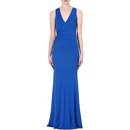 ROBERTO CAVALLI Ruched brooch gown (Blue