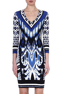 ROBERTO CAVALLI V-neck patterned jersey dress