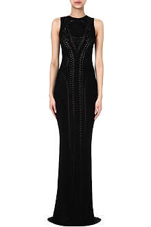ROBERTO CAVALLI Lace-detail knit gown
