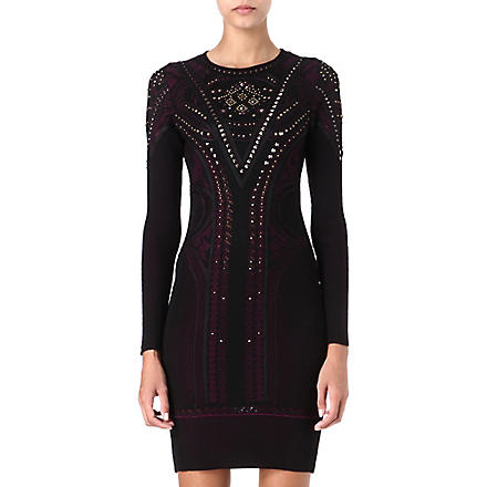 ROBERTO CAVALLI Studded knit dress (Black/purple