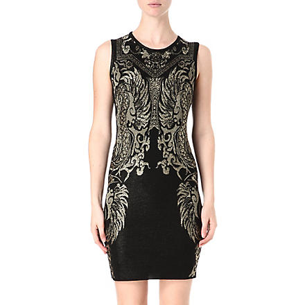 ROBERTO CAVALLI Jacquard knitted dress (Black/gold